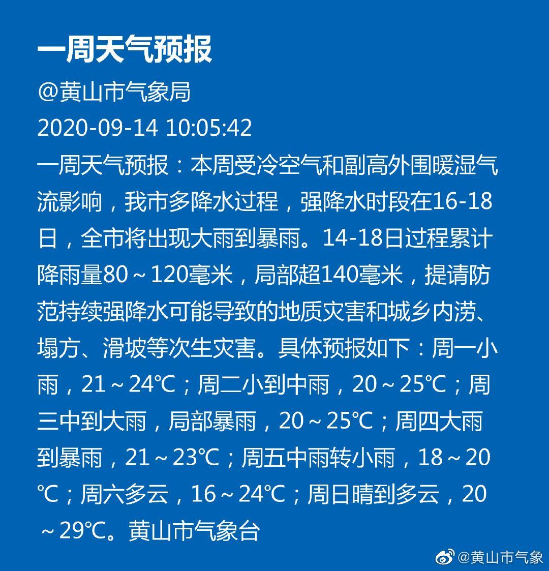 黄山市天气预报20200914一周天气预报
