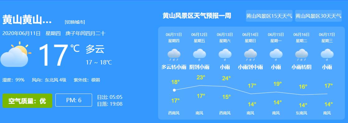 黄山风景区天气预报06月11日-06月17日