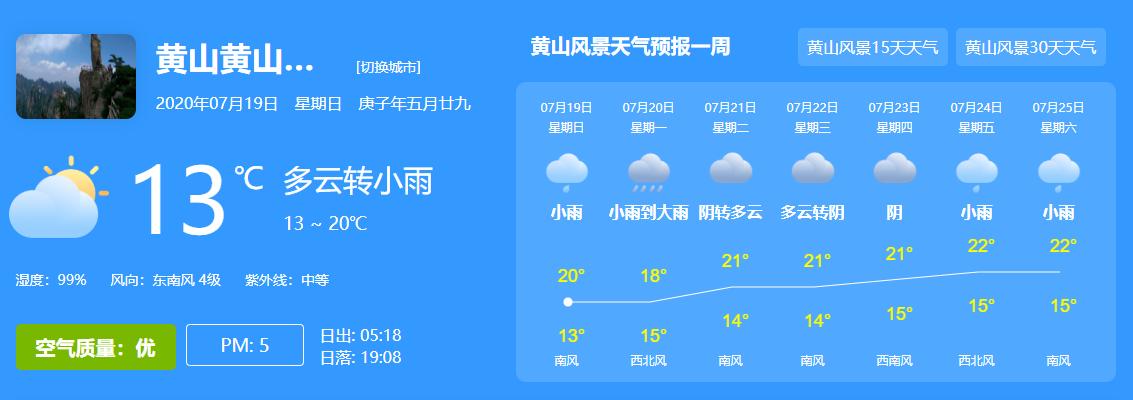 黄山风景区天气预报07月19日-07月25日
